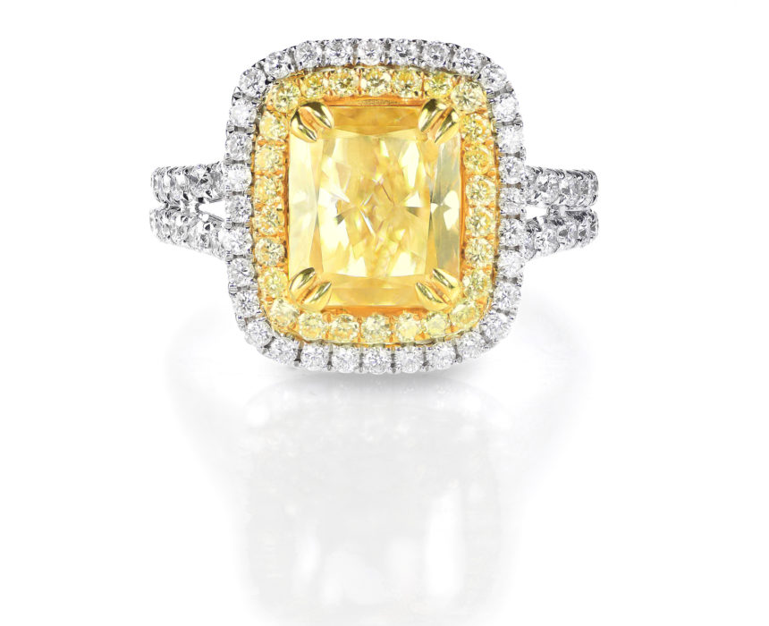 Yellow Canary Diamond Large Engagment Ring in Halo Setting