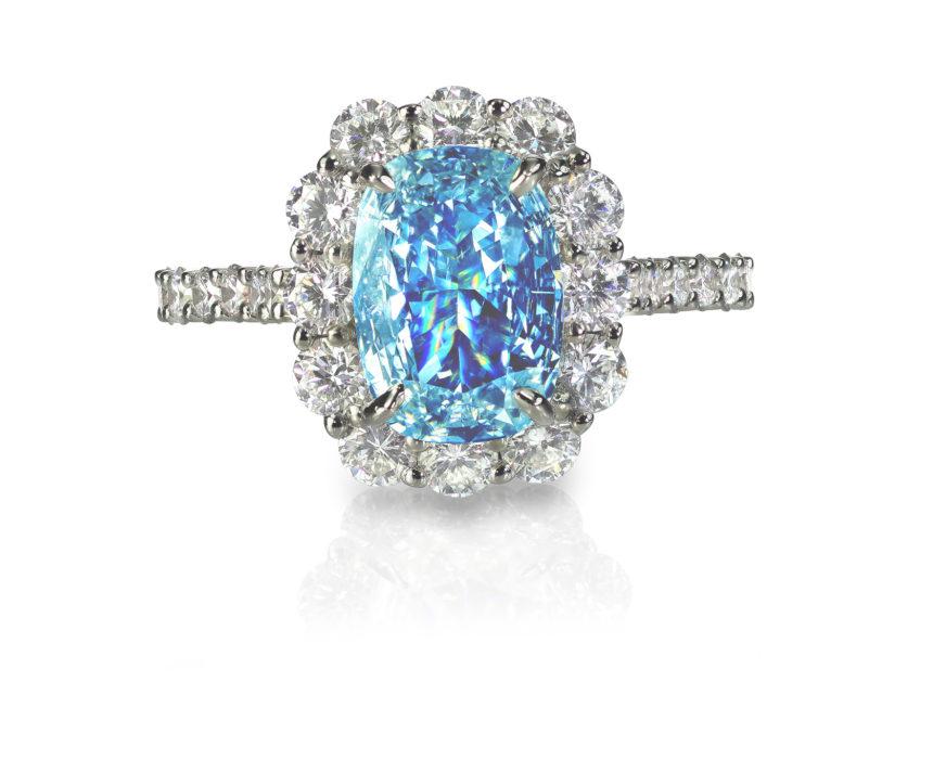 Blue Diamond engagment wedding ring